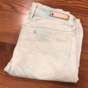 H&M jeans teal blue acid wash bleached size 2 NWOT